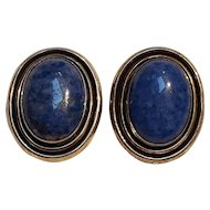 KB Sterling silver genuine blue stone cabochon earrings
