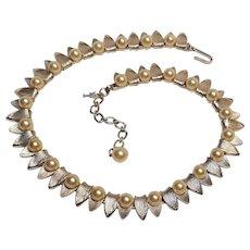 Trifari simulated pearl choker necklace brushed silver tone