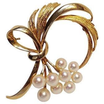 Mikimoto 14K gold pearl bouquet pin ribbon swirls