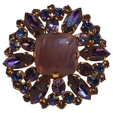 Austria pin purple marbled glass and rhinestone navettes blue chatons