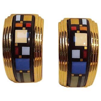 Michaela Frey multi color enamel earrings mini-creole Modern geometric  design