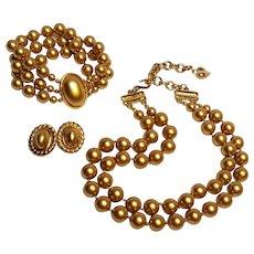 Carolee golden simulated pearl parure necklace, bracelet, earrings