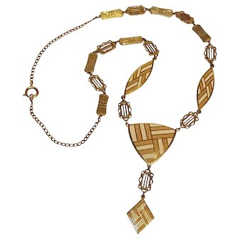 Evans Art Deco Viennese enamel necklace 1929 ad piece