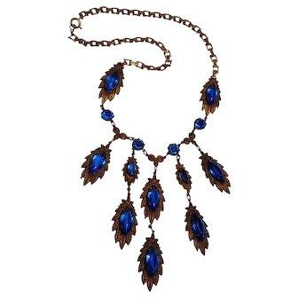 Czech glass rhinestone brass drippy bib necklace sapphire blue