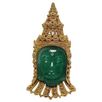 Rare Ciner Peking glass Asian Princes brooch pin pendant