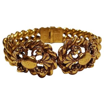 Florenza clamper bracelet chunky gold tone twisted rope