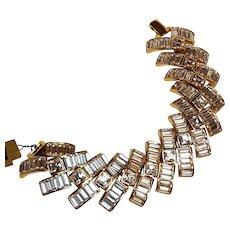 Napier bracelet Starlight baguette rhinestones wide statement piece