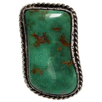 Native American sterling silver turquoise statement ring hallmarked N