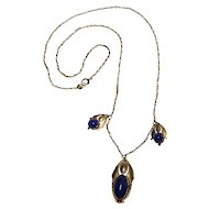 14K Gold lapis Arts & Crafts style necklace delicate