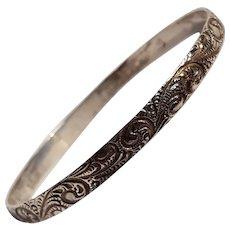 Danecraft Felch sterling silver bangle bracelet baroque paisley swirl