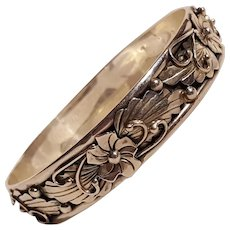 Southwest sterling silver peyote blossom bangle bracelet signed