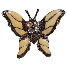 Sterling silver enamel marcasite butterfly pin glass crystal  stones