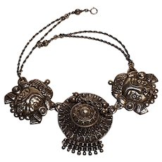 Peruzzi Boston sterling silver tribal masks necklace