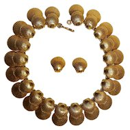 Mimi Di N double shell necklace and clip earrings