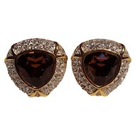 Swarovski SAL clip earrings topaz brown crystals