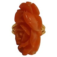 Trifari ring plastic simulated carved coral rose