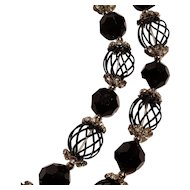 Vendome bead necklace two strand enamel cage rhinestone caps faceted glass black