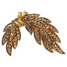 Trifari rhinestone sprig pin gold tone finish