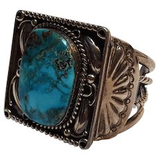 Native American chunky sterling silver turquoise cuff bracelet