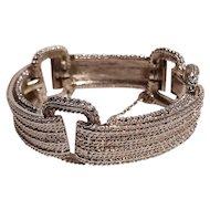 Monet modern bracelet embossed design silver tone
