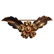14K Gold watch pin flower head flanked by leaves