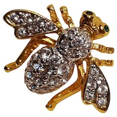 Joan River Classics bee pin colorless rhinestone