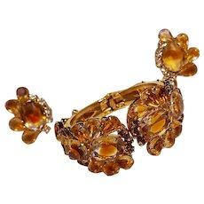 Juliana topaz givre glass clamper bracelet earrings set