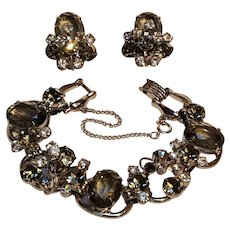 Juliana rhinestone bracelet clip earrings set smoke gray black diamonds