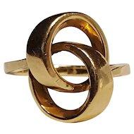 14KP 14K  Plumb gold ring Modern design entwined circles