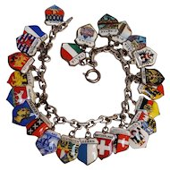 800 Silver enamel European travel charm bracelet 24 charms