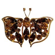 Weiss rhinestone butterfly pin topaz brown amber rhinestones
