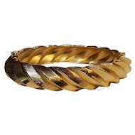 Trifari hinged bangle bracelet oblong embossed design