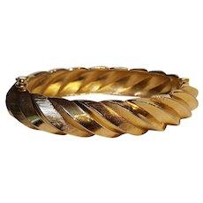 Trifari hinged bangle bracelet oblong embossed design