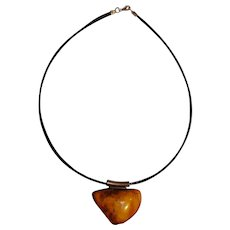 Natural Baltic butterscotch amber pendant necklace sterling silver