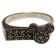 Judith Jack Disney sterling silver marcasite ring Mickey mouse ears