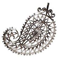 Vendome paisley pin openwork design silver tone