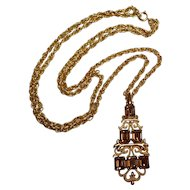 Trifari brown rhinestone pendant necklace two strand