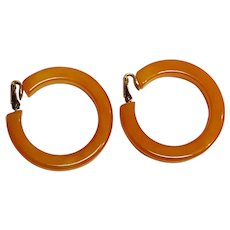 Bakelite hoop clip earrings butterscotch marbled