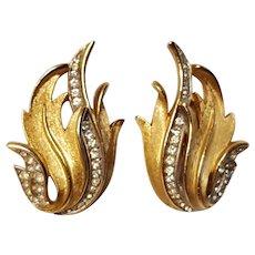 Trifari rhinestone flame clip earrings gold tone