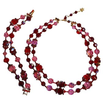 Vendome red pink crystal bead rhinestone cap necklace bracelet set