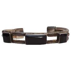 Sterling silver black  onyx cuff bracelet Mexico
