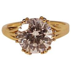 14K Gold cubic zirconia solitaire engagement wedding ring Diamonique