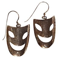 Sterling silver mask earrings smiling happy comedy