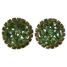 Kramer New York rhinestone clip earrings peridot green