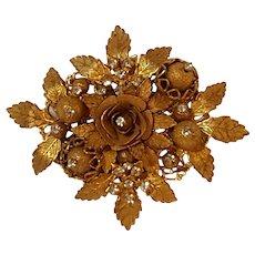 Miriam Haskell pin rose center rhinestone golden leaves beads