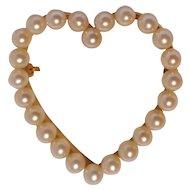 14K Yellow gold pearl heart pin hefty 9.4 grams