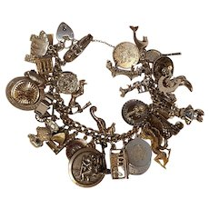 Sterling silver 35 charm bracelet 134 grams heart padlock clasp