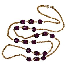 Trifari waterfall companion necklace purple lucite beads