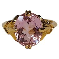 14K Yellow  Gold oval faceted amethyst ring
