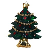 Anne Klein Christmas tree pin molded green lucite